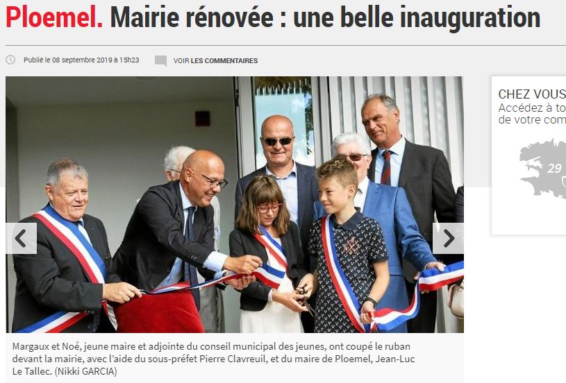 Inauguration de la nouvelle mairie de Ploemel.