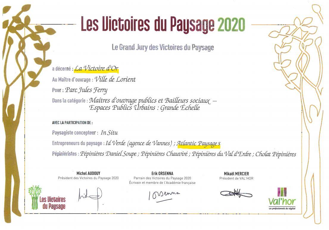 Miroir d'eau et Parc Jules ferry à Lorient victoire d'or du paysage en 2020